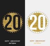 Uppsättningen av den 20th lyckliga årsdagen cards mallen med guld- beståndsdelar Arkivfoto