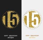 Uppsättningen av den 15th lyckliga årsdagen cards mallen med guld- beståndsdelar Fotografering för Bildbyråer