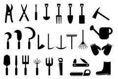 Uppsättningen av den trädgårds- handen bearbetar symbolen Arkivfoto