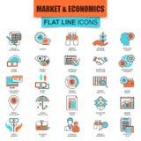 Uppsättningen av den tunna linjen symboler marknadsför och nationalekonomi, finansiell rådgivning Arkivbilder