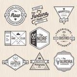 Uppsättningen av den tunna linjen tappning förser med märke, baner, etiketten, bandet och logomallvektorn för affär och shoppar Royaltyfri Bild
