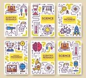 Uppsättningen av den tunna linjen tekniska meningar mönstrar begrepp Konstfysik- och matematikutrustning, tidskrift, bok, affisch stock illustrationer