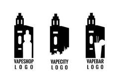 Uppsättningen av den vaping logoen för din vapestång eller shoppar Stämpel emblem, emblem Arkivbild
