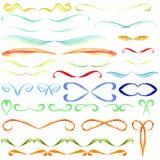 Uppsättningen av denfärgade vattenfärgen för blå gräsplan för reds röra sig i spiral ramar av prydnadhåligheter som dras av hande stock illustrationer