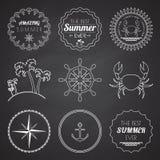 Uppsättningen av 9 designsommarbeståndsdelar, ramar, gränsar royaltyfri illustrationer