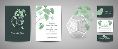 Uppsättningen av det botaniska retro bröllopinbjudankortet, modern räddning datumet, malldesign av ginkgobilobaen lämnar royaltyfri illustrationer