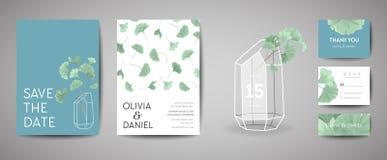 Uppsättningen av det botaniska retro bröllopinbjudankortet, modern räddning datumet, malldesign av ginkgobilobaen lämnar stock illustrationer