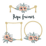 Uppsättningen av det enkla repet inramar grafiska designer på vit bakgrund med blommor Royaltyfri Fotografi