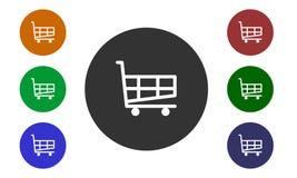 Uppsättningen av det färgrika runda symbolsköpet på websiten och e-shoppar in knappar och bildshoppingvagnen som isoleras på vit  Arkivfoton