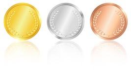 Försilvra och bronsmedaljer, guld-. vektor illustrationer