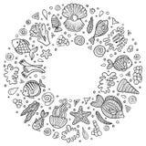 Uppsättningen av det Sealife tecknad filmklottret anmärker, symboler och objekt Arkivfoto