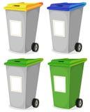 Uppsättningen av det stads- återanvändbara avfall slänga i soptunnan Arkivbilder