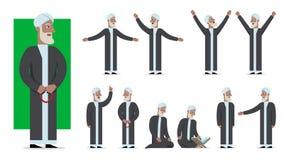 Uppsättningen av det traditionellt beklädde muslimteckenet poserar och sinnesrörelser Royaltyfria Foton