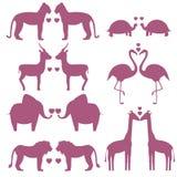 Uppsättningen av djur kopplar ihop förälskat stock illustrationer