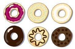 Uppsättningen av donuts sänker vektorillustrationen, donutssamling Arkivbild