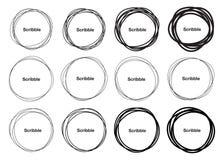 Uppsättningen av dragen hand 12 klottrar cirklar, vektorlogo stock illustrationer
