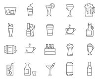 Uppsättningen av drycker och drinkar fodrar vektorsymboler royaltyfri illustrationer
