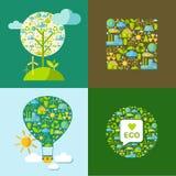 Uppsättningen av ekologisymboler med enkelt formar jordklotet, trädet, ballong Royaltyfri Bild