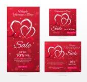 Uppsättningen av eleganta försäljningsbaner av olika format för lycklig dag för valentin` s med hjärta formade godisrottingar, rö Arkivbilder