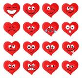 Uppsättningen av emoticons och emojis i röd hjärta bildar Royaltyfri Bild