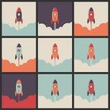 Uppsättningen av en affär startar upp raket vektor illustrationer