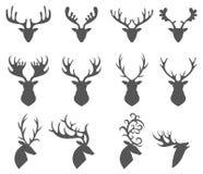 Uppsättningen av en hjort head konturn på vit bakgrund Arkivbilder