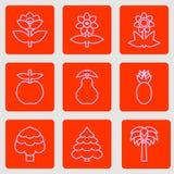 Uppsättningen av enkla plana symboler blommar, träd och frukter Moderiktig färgrik design Royaltyfri Bild