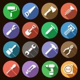 Uppsättningen av enkla symboler för rundalägenhet arbetar hjälpmedel med skuggaeffekt Royaltyfri Illustrationer