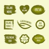 Uppsättningen av etiketter med text går strikt vegetarian, den nya gröna menyn, organiskt pro- Arkivfoton
