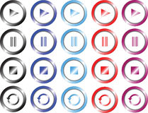 Uppsättningen av färgade multimedior knäppas royaltyfri illustrationer
