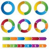 Uppsättningen av färgglatt cirklar diagram och pilar Royaltyfri Foto
