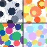 Uppsättningen av färgpulver och målarfärg spots sömlösa modeller, vektor plaskad fläckbakgrund Vektor Illustrationer