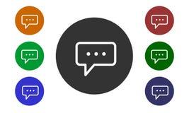Uppsättningen av färgrika runda symboler, kommentarer på websites och fora och e-shoppar in med en knapp och bubblor för en bild  stock illustrationer