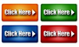 Uppsättningen av färgrikt klickar här rengöringsdukknappar Arkivbild