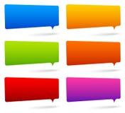 Uppsättningen av färgrikt rektangulärt anförande bubblar med tomt utrymme Royaltyfria Bilder