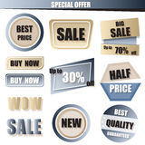 Uppsättningen av försäljningen, köper det nu, nya halva prisbanret i blå och guldPA Arkivfoto