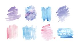Uppsättningen av fläckar eller suddhanden målade med vattenfärgen som isolerades på vit bakgrund Samling av uttrycksfull målarfär Royaltyfri Fotografi