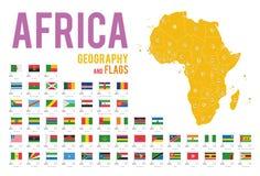 Uppsättningen av 54 flaggor av Afrika isolerade på den vita bakgrund och översikten av Afrika royaltyfri illustrationer