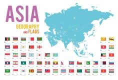 Uppsättningen av 51 flaggor av Asien isolerade på den vita bakgrund och översikten av Asien royaltyfri illustrationer