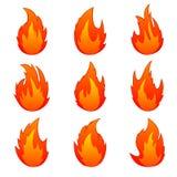 Uppsättningen av flammar Arkivfoton
