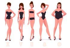 Uppsättningen av form för kvinnlig kropp skriver - fem typer vektor illustrationer