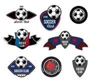 Uppsättningen av fotbollfotbolllogoen, emblem, krönar Royaltyfria Foton