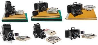 Uppsättningen av foto, antikviteten, svart, den fick- kameran, gamla fotoalbum, retro svartvita fotografier, den historiska negat royaltyfri bild