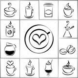Uppsättningen av frihandsklottret skissar kaffesymboler Royaltyfri Fotografi
