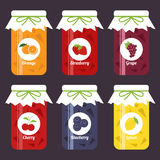 Uppsättningen av frukt- driftstopp skorrar, apelsinen, jordgubben, druvan, körsbär vektor illustrationer