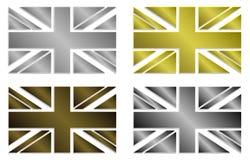 Uppsättningen av fyra enkelt isolerade stiliserade metalliska Union Jack i metalliska färger utformar Arkivbilder