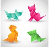 Uppsättningen av fyra katter skyler över brister, origamikonst stock illustrationer