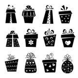 Uppsättningen av gåvan boxas symboler Arkivbild