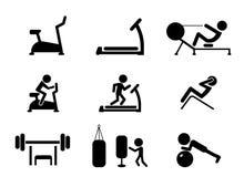 Uppsättningen av genomkörare och idrottshall bearbetar med maskin symboler, vektor Royaltyfri Fotografi