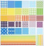 Uppsättningen av geometriskt seamless mönstrar. Arkivfoto